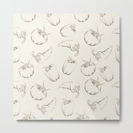 Vegetable pattern - beige. Metal Print