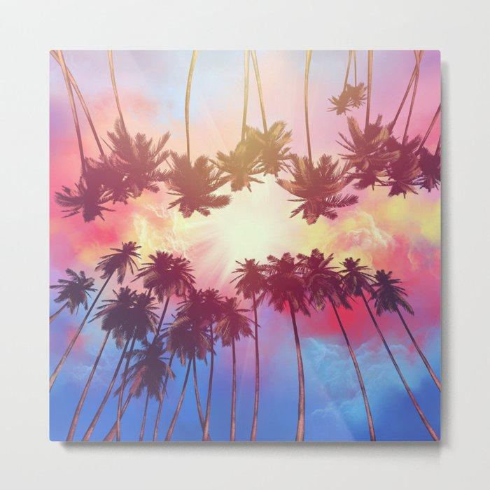 summer sunset palms Metal Print