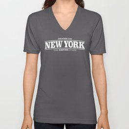New York State Vintage Design with Distressed Retro Text Unisex V-Neck
