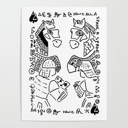 Call a Spade a Spade  (two of spades, horses and soldiers playing spades) Poster