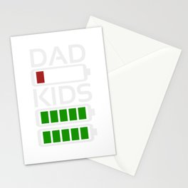 Dad Kids Tired Battery Low Energy Dad New Dad Gift Stationery Cards