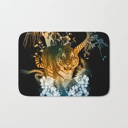 Beautiful tiger with flowers Bath Mat