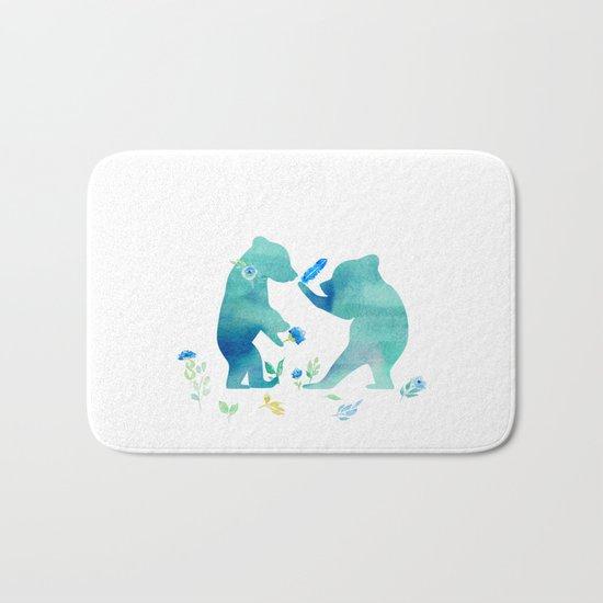 Playing bear kids- Watercolor animal illustration Bath Mat