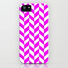HERRINGBONE (FUCHSIA & WHITE) iPhone Case
