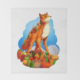 Autumn fox Throw Blanket