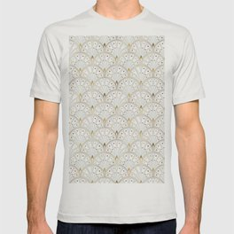 marble and gold art deco scales pattern T-shirt