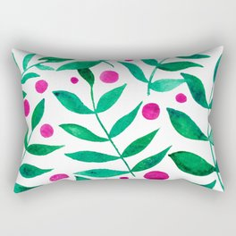 Watercolor berries and branches - pink and green Rectangular Pillow