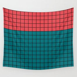 Red turquoise  plaid Wall Tapestry