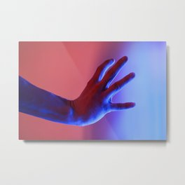 [32] Human body part hand wrist fingers blue red neon fluorescent lights Metal Print