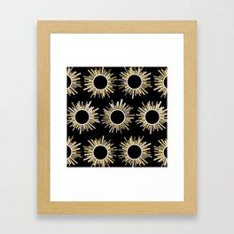 Art Deco Starburst in Black Framed Art Print