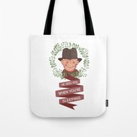 freddy krueger Tote Bags featuring Freddy Krueger Christmas by Big Purple Glasses