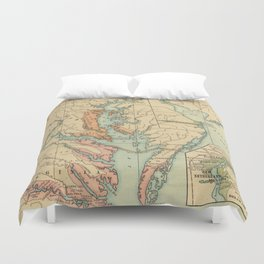 Vintage Virginia and Maryland Colonies Map (1905) Duvet Cover