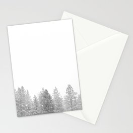 Winterland // Snowy Landscape Photography White Out Winter Pine Tree Artwork Stationery Cards
