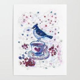 Winter Tea (Ble Jay) Poster