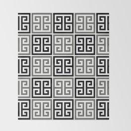 Gray Black And White Greek Key Pattern Throw Blanket