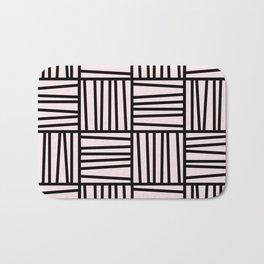 Bold Graphic Memphis Pattern, Black & Pink Blocks & Lines Bath Mat
