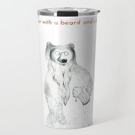 A bear with a beer and a beard Travel Mug