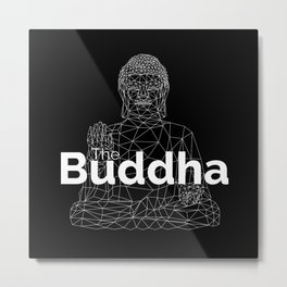 The Buddha. Line Low Poly Version. Metal Print