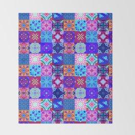 Bohemian Jungle Quilt Tiles 2 Throw Blanket