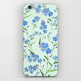 forget me not in green background iPhone Skin