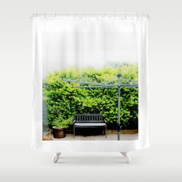 Bench in Overcast Shower Curtain
