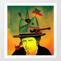 dylan Art Prints featuring dylan by Mariana Beldi