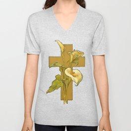 Three Calla Lilies And Christian Cross Unisex V-Neck
