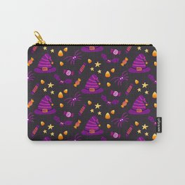 Happy halloween witch hats, bats, spiders and sweets pattern Carry-All Pouch