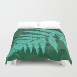 From the forest - turquoise on green Duvet Cover