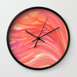 Abstract Pink Orange Purple Stripes Painting Girl Summer Colorful Wall Clock