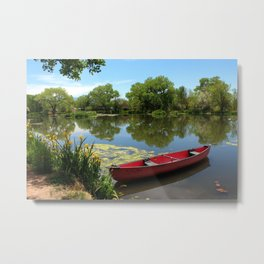 Red Canoe  Metal Print