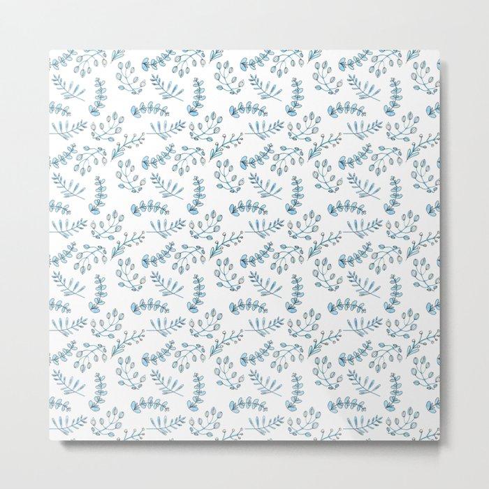 Seamless watercolor blue flowers pattern Metal Print