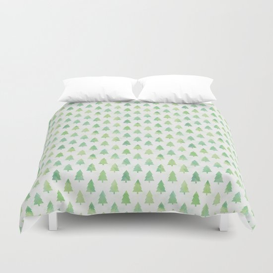 Simple Pine Tree Forest Pattern Duvet Cover