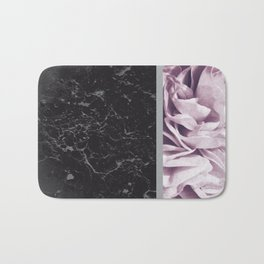 Light Purple Flower Meets Gray Black Marble #6 #decor #art #society6 Bath Mat