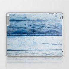 Blue wooden shutter in yellow wall. Laptop & iPad Skin
