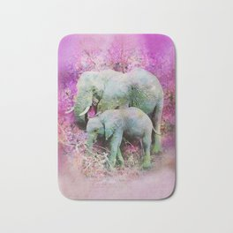 Elephant art mother child pink floral Bath Mat