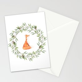 Cute Fox in Acorn Wreath Stationery Cards