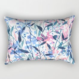 Wandering Wildflowers Blue Rectangular Pillow