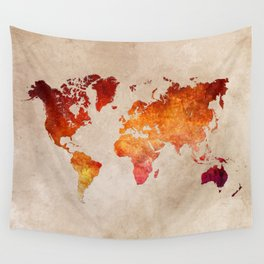 Red World Map Wall Tapestry