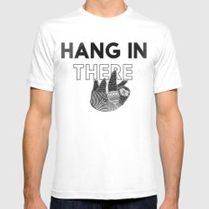 Hang in There White MEDIUM Mens Fitted Tee