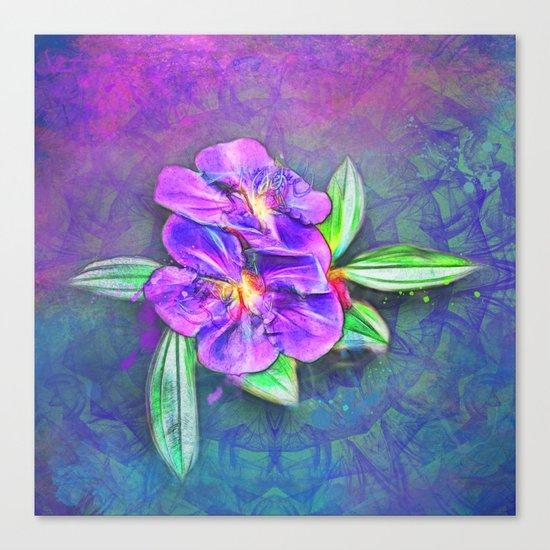 Abstract Lasiandra on textured kaleidoscope Canvas Print