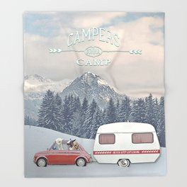 NEVER STOP EXPLORING - CAMPERS GONNA CAMP Throw Blanket