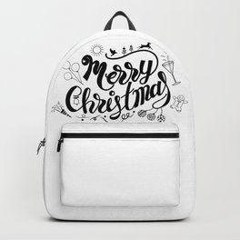 Wall art of Merry Christmas lettering with accessory for celebration. Backpack