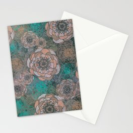 Peony Flowers Peach and Green Stationery Cards