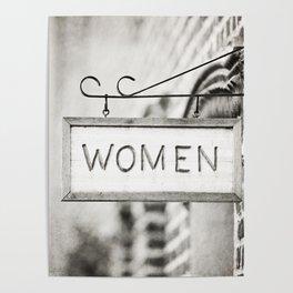 Ladies Room, Women's Restroom Sign Art, Black and White Bathroom Photo Poster
