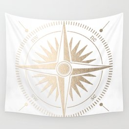 Gold on White Compass Wall Tapestry