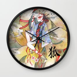 Nine tailed fox kitsune spirit in a form of human kimono girl Wall Clock