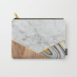 Geometric White Marble - Wood & Blue Marble #782 Carry-All Pouch