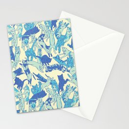 Leaping Cats - Blue Stationery Cards