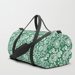 "William Morris Floral Pattern | ""Pink and Rose"" in Green and White Duffle Bag"